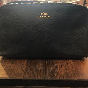 Coach black leather cosmetics bag